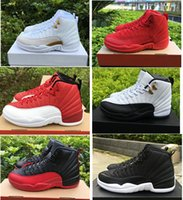 Wholesale Cheap Christmas Boxes - High quality air retro 12 Ovo Gym Red Wool Taxi men basketball shoes 12s Flu Game Black Nylon PSNY cheap sneakers With Box