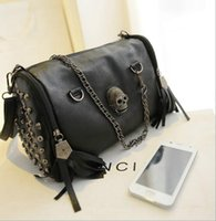 Wholesale Skull Ladies Purse - Women Designer Skull Rivet Tassels Shoulder Bag Luxury Handbag Crossbody Fashion Brand Satchel Famous bucket Tote Purse for Ladies Access