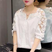 Wholesale summer korean blouse long sleeve - 2016 Summer Women Lace Blouses Fashion Korean Lace Shirt Hollow Out Casual Short Sleeve Female Shirts Tops Plus Size M-5XL