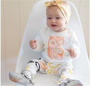 zwei jungen mädchen babys großhandel-2016 neue INS Babys Outfits Jungen Mädchen Baby Zweiteilige Kleidung Set Baumwolle Langarm T-shirts Cartoon Hosen Säuglingskleidung Anzüge
