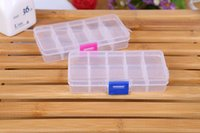 Wholesale Small Plastic Tool Box Wholesale - 15 Compartment Plastic Clear Storage Box Small Box for Jewelry Earrings Toys Container Free Shipping