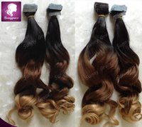 Wholesale Tape Extensions Loose Wave - 16-26inch Malaysian tape in human hair extensions unprocessed ombre tape hair extensions loose wave three tone tape hair extensions