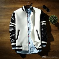 Wholesale Leather Men Sweaters Black - 2016 New Arrival Men's Japanese Style Space Cotton Jacket Sweater Korean Style Baseball Stitching Leather Sleeves Sweater Jacket