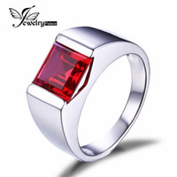 Wholesale Pigeon Blood Ruby Ring - Wholesale-Pigeon Blood Ruby 3.4ct Engagement Wedding Ring Square Cut Solid 925 Sterling Sliver For Men Gem stone Charm Jewelry wholesale