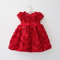 Wholesale Vestido Flower Baby - 0-2Y) newborn baby girl dresses princess dress infant red rose flower dress Christening gown birthday Party vestido de bebe free shipping