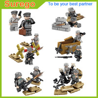Wholesale Diy Building Block Set - Newest With DIY Stickers MOC 12pcs WW2 German Army Special Forces Military Building Blocks Bricks Set Mini Toy Figures with Weapons