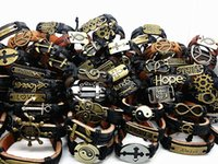 Wholesale Mix Different Styles Men s Punk Retro Copper Alloy Leather Ethnic Tribes Cuff Bracelets Brand New