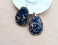 Wholesale Diy Rhinstone - 5pcs Emperor Jasper Turquoise agalmatolite Pendant, with Rhinstone Crystal Zircon Paved Pendants, For DIY Necklace Jewelry Making PD154