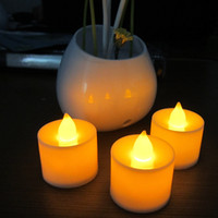 Wholesale flameless votive candle - 24pcs Yellow Flicker Flameless Led Electric Battery Powered Tealight Candles Holiday  Wedding Decoration Big Votive Candles