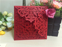Wholesale Red Flower Cards - Red Wedding Invitations Cards With Hollow Out Rustic Laser Cut Invatation Card Flowers Elegant Party Invites Customized Printing