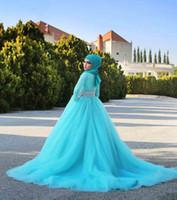 ingrosso gonna blu 12-2016 pizzo abiti da sposa manica lunga gonna blu gioiello musulmano vestido de noiva vestito corte del treno applique pastelli cerniera abiti da sposa