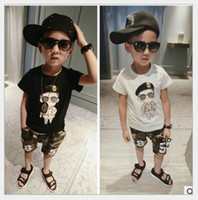 Wholesale Camouflage Sleeves T Shirts Children - 2016 New Summer Boys Cartoon Short Sleeve T-shirt Tops+Camouflage Shorts Pants 2pcs Sets Children Suits Kids Outfits 80-130cm 6sets lot