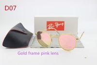 Wholesale Clear Lens Retro Sunglasses - Brand sunglasses designer piloted fashionable retro color round color sunglasses men's glass lenses gold sunglasses and boxes
