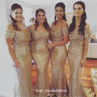 best plus size customized wedding dress - New Cheap Gold Sequin Bridesmaid Dresses 2017 Off Shoulder Cap Sleeve Pleats Long Formal Plus Size Maid Of Honor Wedding Guest Party Gowns