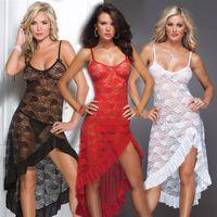 vestidos de dormir vermelhos venda por atacado-Atacado-quente! Plus Size M XL XXL XXXL XXXXL 5XL 6XL mulheres Sexy lingerie erótica Red Sleepwear camisola pijama define vestido longo de vestir