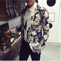 Wholesale Notch Collar Slim Fit Suits - Men's Suits On Sale Near You Notched Collar Floral Printed Vogue Slim Fit Men's Free Shipping Casual Blazer