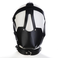 Wholesale Bondage Muzzles - Adult Studded Genuine leather or Faux leather Head Harness Muzzle Gag with Neck Strap Sex Bondage Fetish Restraint Face Mask Punk Hoods