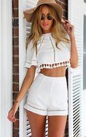 Wholesale Sexy Sun Skirt - Summer Style Celeb Sexy Mini Playsuit Ladies Jumpsuit Shorts Beach Sun Dress Backless Halter White Shorts Set Fashion Womens Clothing Suits
