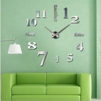 Wholesale Antique Style Wall Lights - Wholesale- Happy home Living Room Bedroom Home Docerate Wall Clock Modern DIY Large Wall Clock 3D Mirror Surface Sticker Home Office Decor