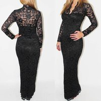 Wholesale Europe V collar lace lace dress sexy slim package hip dress hollow long sleeved gown with long version