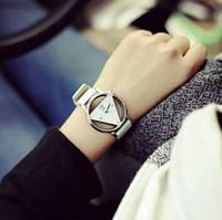 Wholesale Eyki Leather - Triangle Watch Women Dress Hollow Watches Vintage Leather Fashion Quartz Retro Antique Wristwatches Female Clock Montre Femme Reloj Mujer