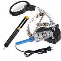Wholesale helping hands tool - Wholesale-Hot Sale 3.5x 12xLED Helping Hand Stand Clip Magnifier Loop Tool Clamp Magnifying Repair Loupe Watch Repair Tool
