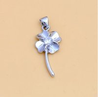 halskette swarovski lila großhandel-Lucky Silver Colover Halskette Weiß Lila Swarovski Leaf Halskette Silber Halskette Kette Lucky Flower Charm Anhänger NO CHAIN