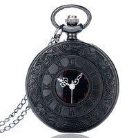 Wholesale black quartz pendant - Wholesales Vintage Charm Black Unisex Fashion Roman Number Quartz Steampunk Pocket Watch Women Man Necklace Pendant with Chain Gifts