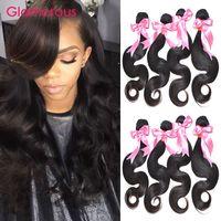 Wholesale Hair Weave Style Natural Wave - Glamorous 100% Human Hair Extensions Body Wave 4 Bundles Natural Color Brazilian Weave Glamorous Hair Fashion Style Virgin Human Hair Weaves