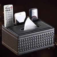 organizers for office - Rectangle PU Leather tissue box TV Remote Controller Holder Organizer for Home Office Automotive