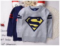 Wholesale Sweater Superman - 2016 Autumn And Winter Baby Boy Clothes Superman Cartoon Sweaters Pullover Double Layer Heat Preservation Wholesale Baby Clothes Free Ship