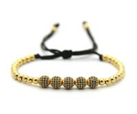 schwarze männer schmuck großhandel-Hohe Qualität 6mm Gold, Rose Gold, Gun Schwarz Pflastern CZ Perlen Flechten Armband Für Männer Frauen Schmuck