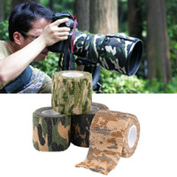 Wholesale Camo Scope - EMS Ship 5cmx4.5m Army Camo Outdoor Hunting Shooting Scope Mounts Tool Camouflage Stealth Tape Waterproof Wrap Durable 5 Color Choose LN-T01