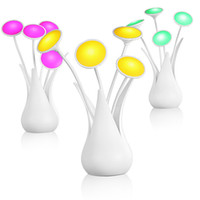 Wholesale Novelty Flower Vases - 2016 New Arrive Elegant USB LED Novelty Flower Vase LED lamp intelligent light control USB vase lamps three colors free shipping