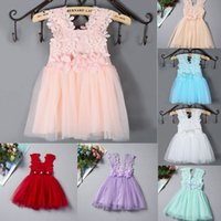 Wholesale Crochet Tutu For Baby - 2016 Summer Baby Girls Clothes Lace Crochet tulle Tutu Dresses Childrens Prubcess Sequins Dresses for Kids Clothing vest Party Dress