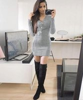 Wholesale sexy work out clothing for sale - 2017 New Arrival Spring Women Dress Top Deep V Neck Natural Full Sleeve Solid Sexy Work Party Business Plus Size Clothing