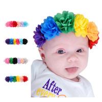 Wholesale Korea Kids Hair Accessories - Baby headbands Kids Infant colorful fabric flowers pearl Hair Accessories Cute Korea hair band Photograph headdress Hair Hairbands