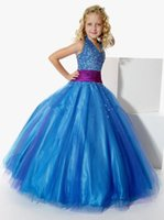 Wholesale Bridemaid Organza Dresses - Custom Made! 2017 The Newest Fashion Lovely Halter Organza Beads Bow Flower Girl Junior Bridemaid Dresses