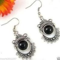 Wholesale Tibetan Jade Earrings - FREE SHIPPING>>>> Exquisite Tibetan silver black jade Jewellery earrings