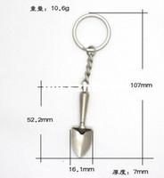Wholesale 3d Souvenir - Novelty Mini Shovel Keychains Metal Spade Keyrings for Promotion Key Chains Keyfob 3D Shovel Metal Tool Souvenir Trinket Tools