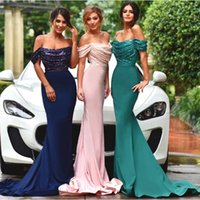 Wholesale Stretch Bridesmaid Dresses - Newest Off Shoulder Bridal Prom Dresses long Sheath Stretch Satin Sexy Custom Cocktail Bridesmaid Dresses 2016