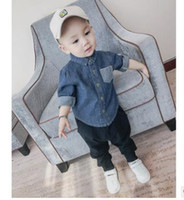Wholesale Boys Oxford Shirts - Boys coats Children Double-pockets lapel outwears kids single-breasted Denim shirts Autumn new Kids leisure Tops Boys clothing G1324