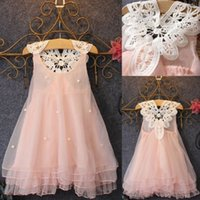 Wholesale Crepe Wedding Dress Ball Gowns - New Baby Kids Clothing Girl's wedding dresses summer 2017 girls toddler ball gowns prom party birthday pink tulle flower girl dress