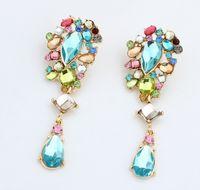 Wholesale Flowers Colored Stones - Unique Style Geometric Stone Earrings Women Romantic Stud, Metallic Bright Colored Gem Earrings Women Fashion Earring