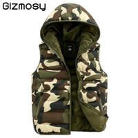 Wholesale Spring Hooded Jacket Mens - Fall-Gizmosy! 2016 Spring Autumn Mens&women waistcoat outdoor camouflage cotton hooded vests Men Down sleeveless jacket vest BN109BN