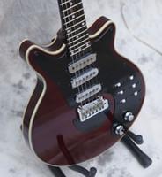 trémolo puente cromo al por mayor-Custom Guild BM01 Brian May Signature Guitarras eléctricas rojas 3 pastillas (modelo BURNS) Tremolo Bridge 22 trastes 6 Switch Chrome Hardware