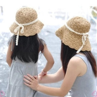 Wholesale Summer Bow Sun Hat - Baby girl lace bowknot straw hat folding sun hat summer Parent child straw hats bow floppy beach hats Collapsible hat Children free shipping