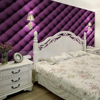 Wholesale Free Purple Wallpaper - Wholesale- special offer Free shipping bedroom Purple brown beige coffee soft bag wallpaper sofa ofhead background wallpaper 5.3m2