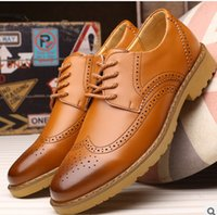 Wholesale Free Stylish Heel - fashion Noble Stylish Genuine Leather Vintage Carved Brogues Shoes Mens Casual Oxfords Shoes Hand Made Lace Up British Style free shipping