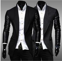 lederjacken gestrickte ärmel großhandel-Mannjackenmänner beschichten zufällige Jackenbaseball-Jackenjacken für Mannmannsportkleidung-Lederhülse stricken Freies Verschiffen